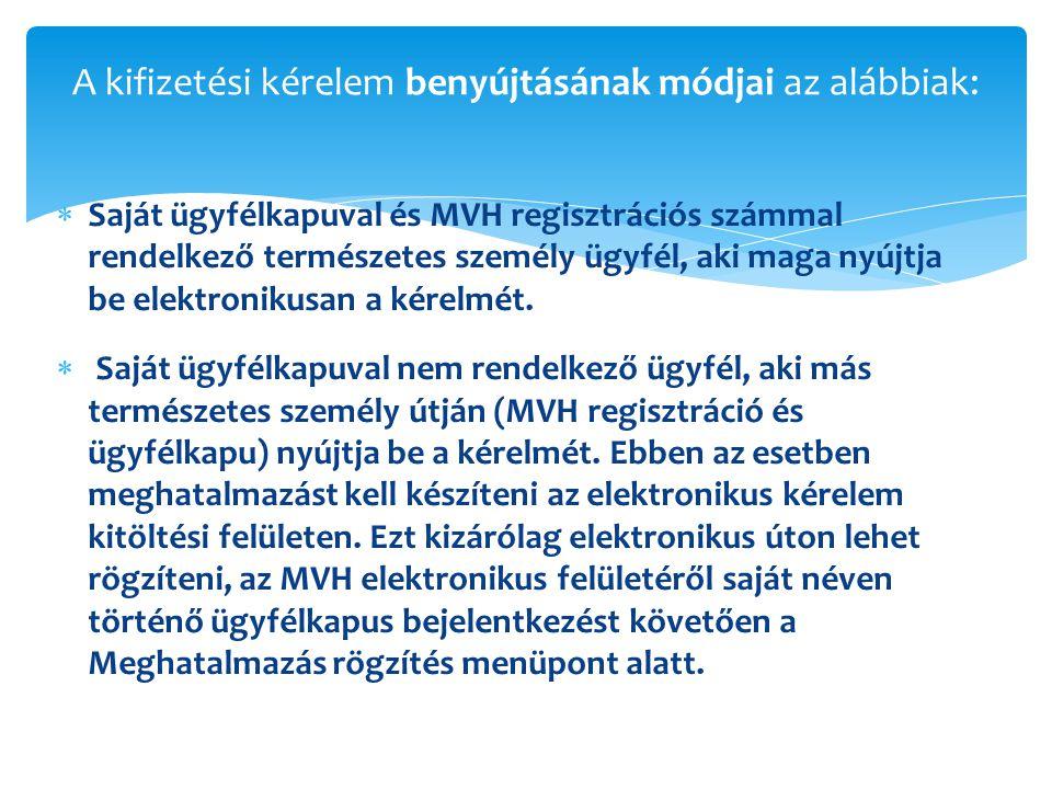 A kifizetési kérelem benyújtásának módjai az alábbiak: