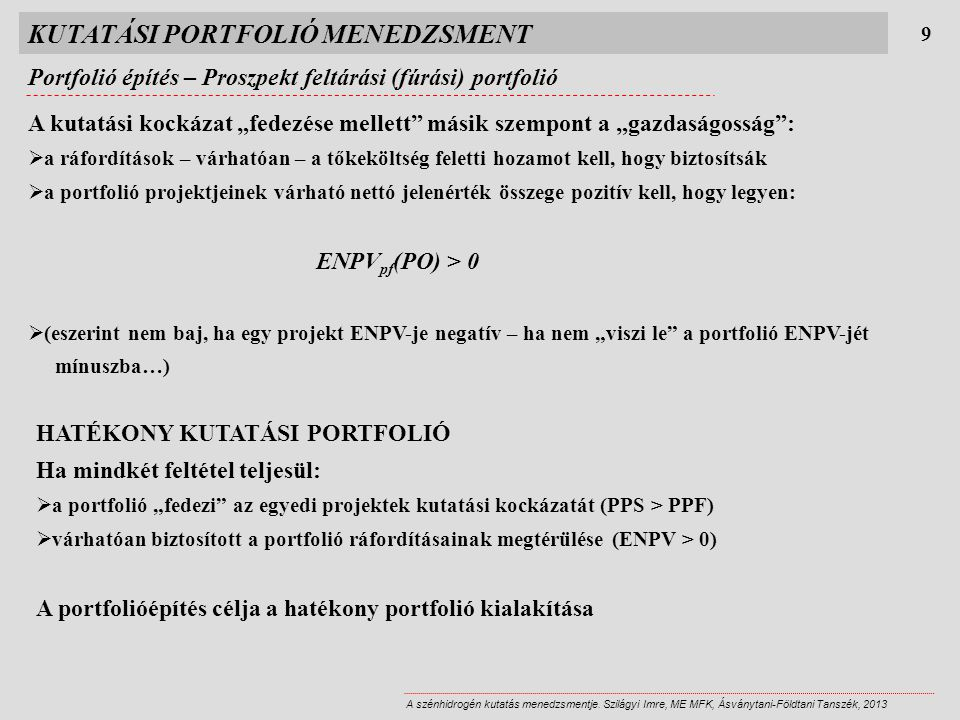 KUTATÁSI PORTFOLIÓ MENEDZSMENT