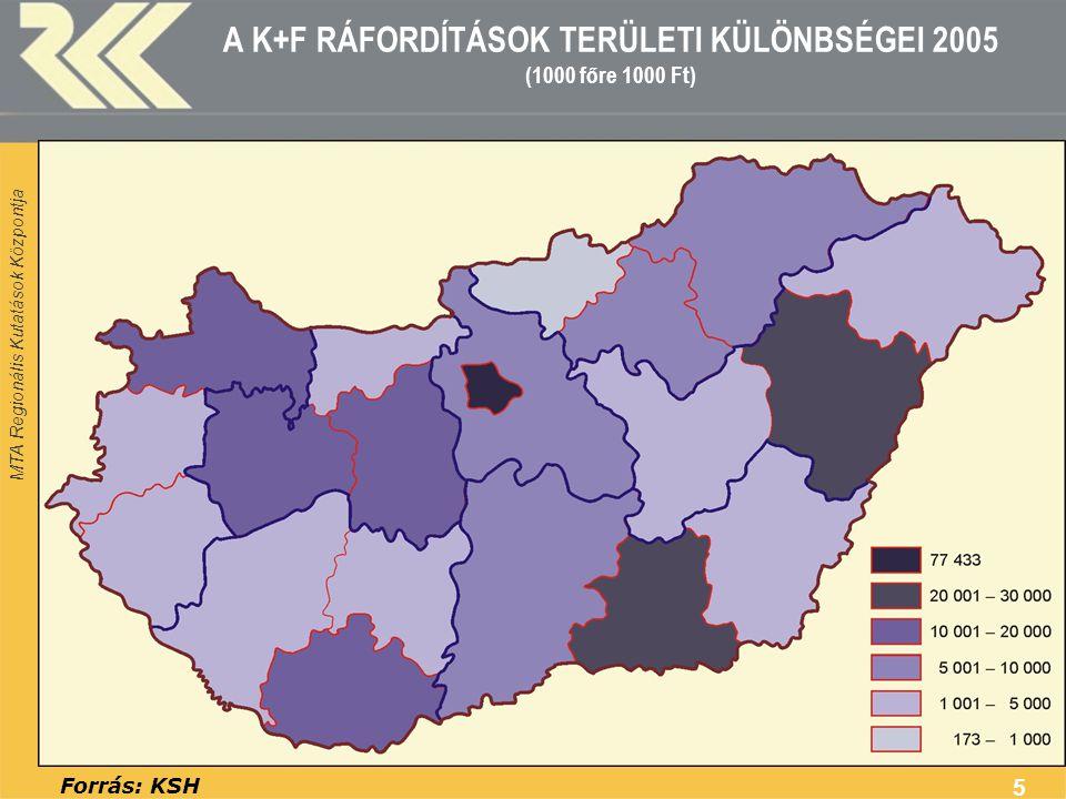 A K+F RÁFORDÍTÁSOK TERÜLETI KÜLÖNBSÉGEI 2005 (1000 főre 1000 Ft)