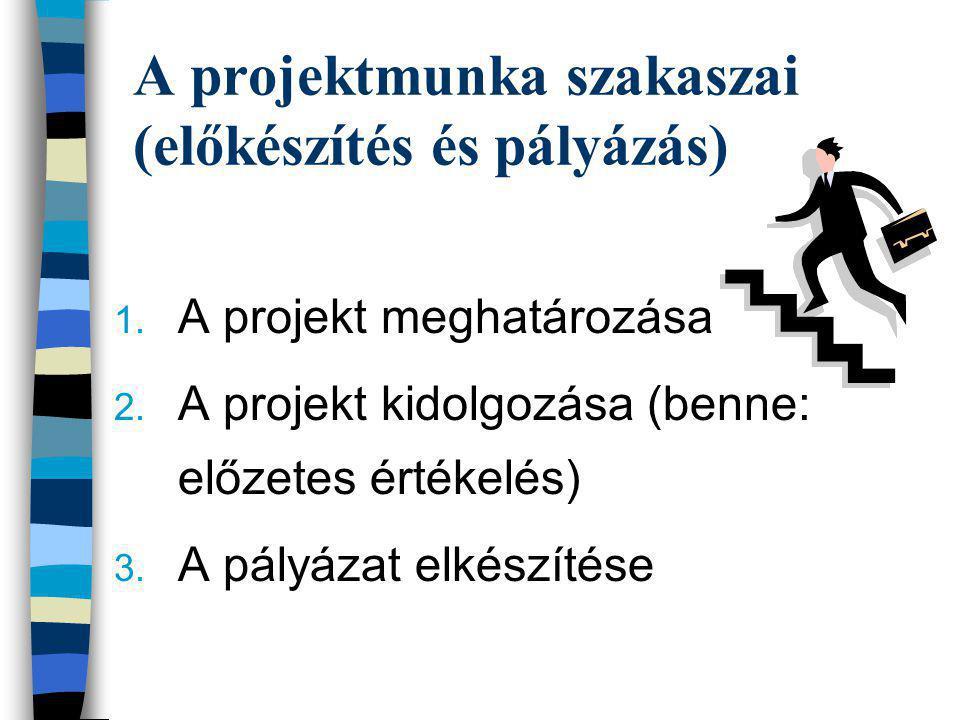 A projektmunka szakaszai (előkészítés és pályázás)