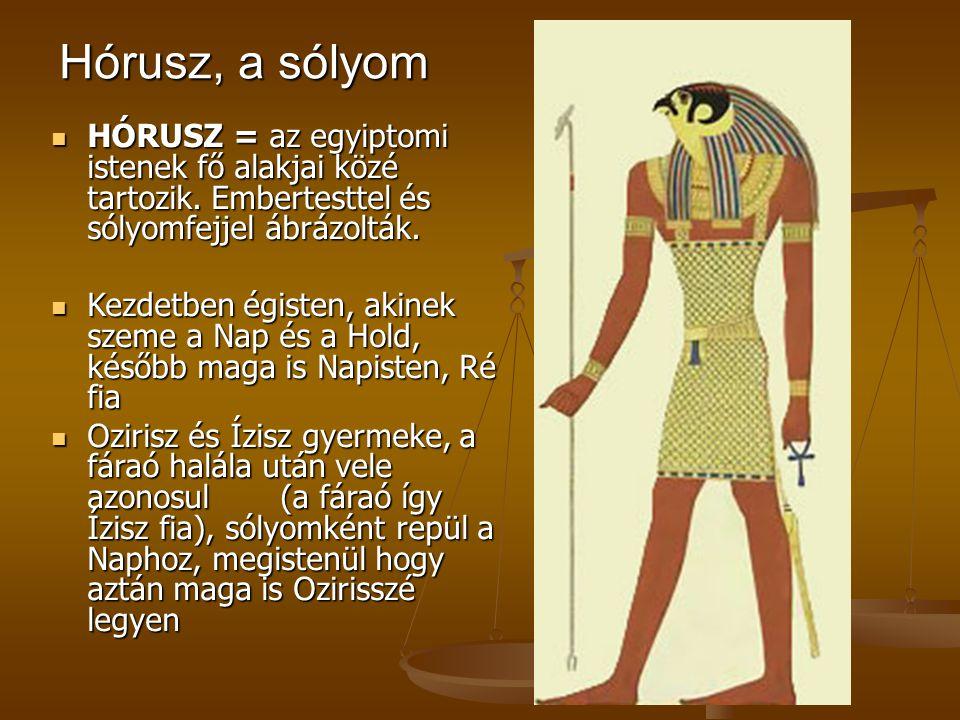 Hórusz, a sólyom HÓRUSZ = az egyiptomi istenek fő alakjai közé tartozik. Embertesttel és sólyomfejjel ábrázolták.