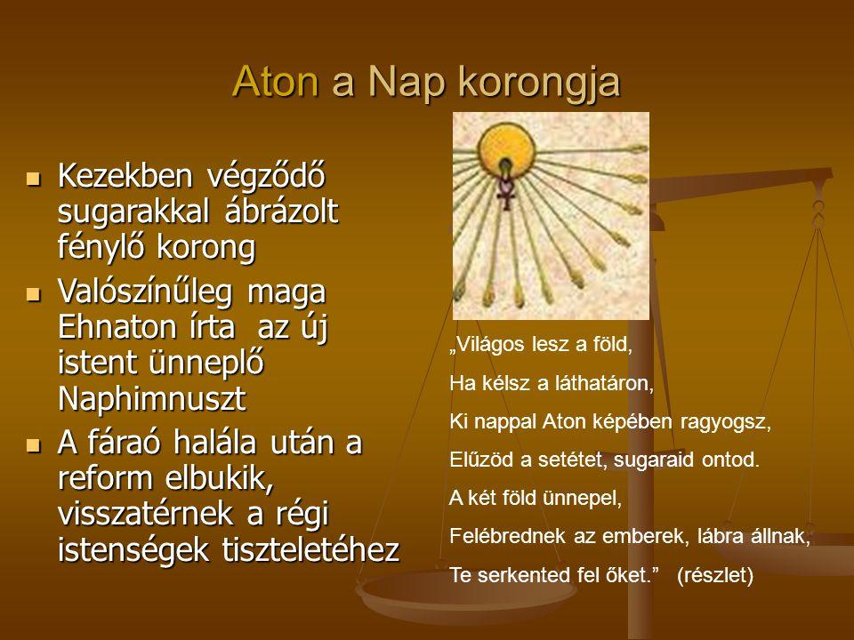 Aton a Nap korongja Kezekben végződő sugarakkal ábrázolt fénylő korong