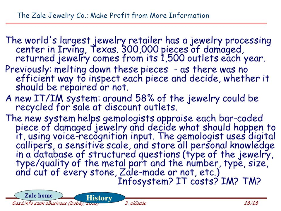 The Zale Jewelry Co.: Make Profit from More Information