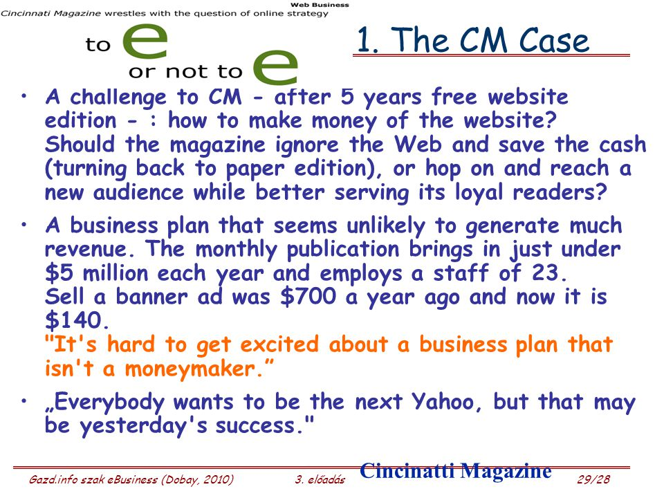 1. The CM Case