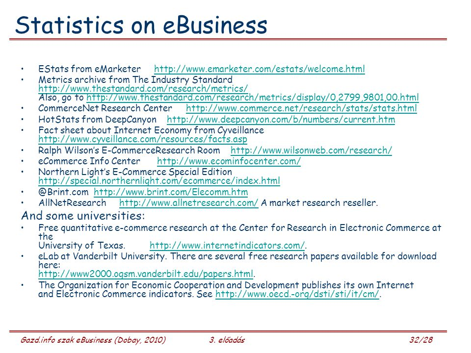 Statistics on eBusiness