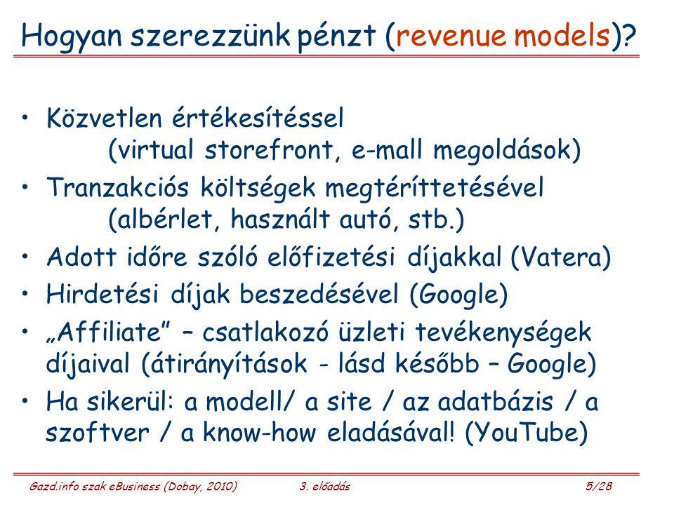 Hogyan szerezzünk pénzt (revenue models)