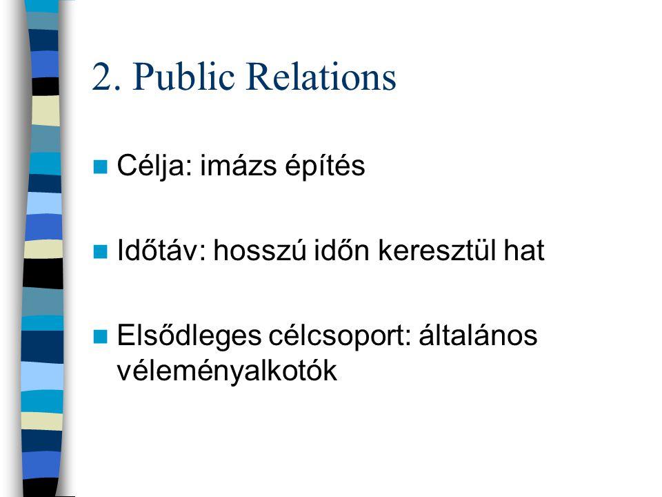 2. Public Relations Célja: imázs építés