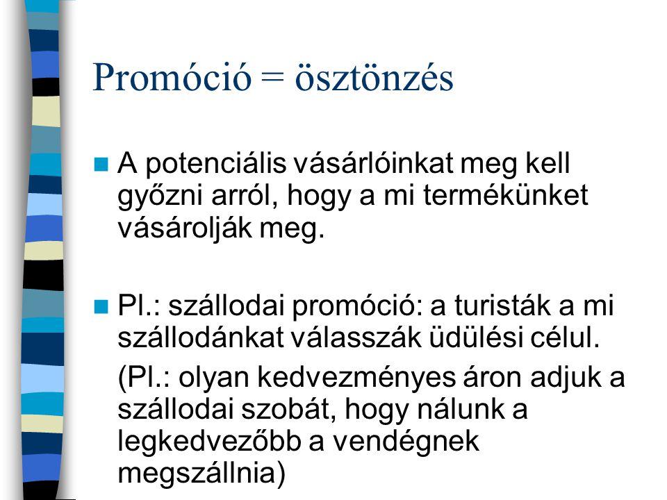 Promóció = ösztönzés A potenciális vásárlóinkat meg kell győzni arról, hogy a mi termékünket vásárolják meg.