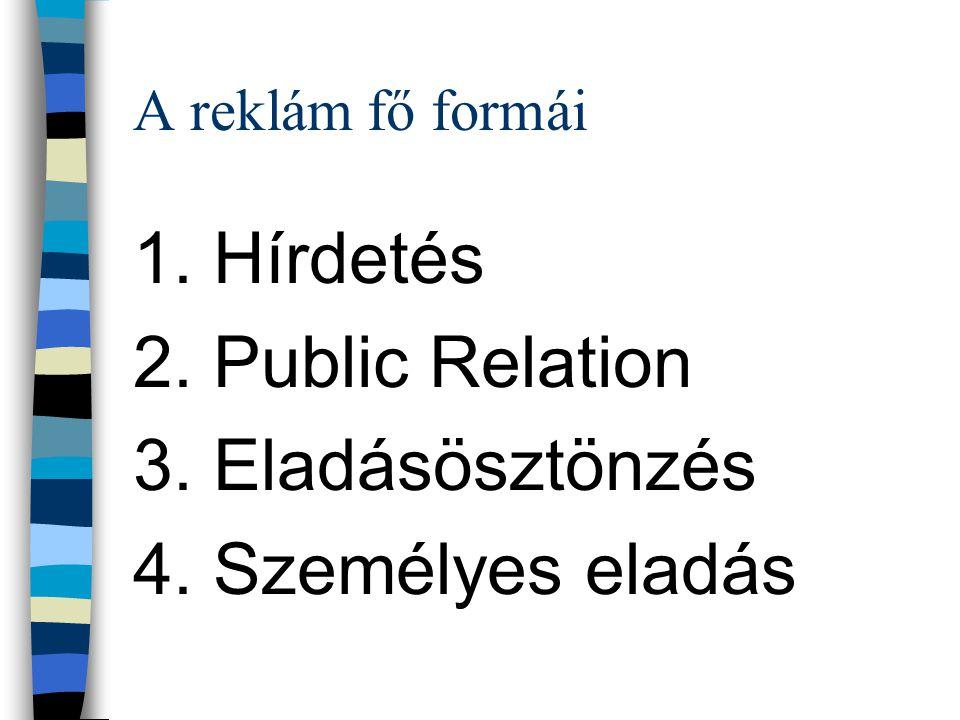 1. Hírdetés 2. Public Relation 3. Eladásösztönzés 4. Személyes eladás