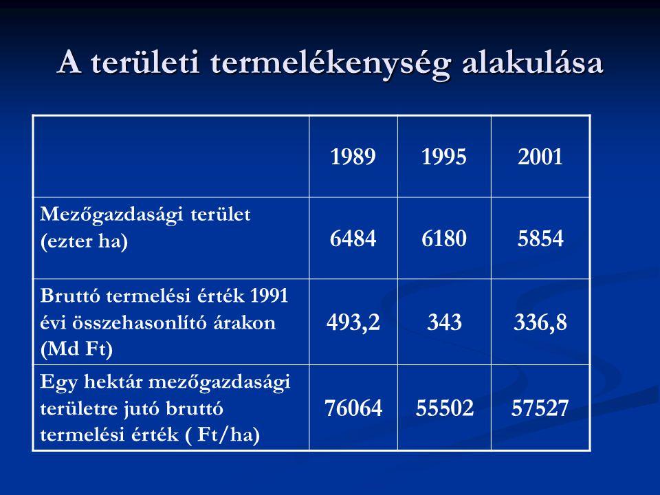 A területi termelékenység alakulása