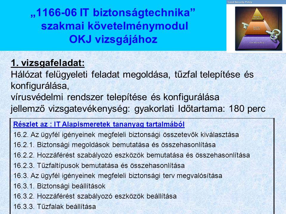 """""""1166-06 IT biztonságtechnika szakmai követelménymodul OKJ vizsgájához"""