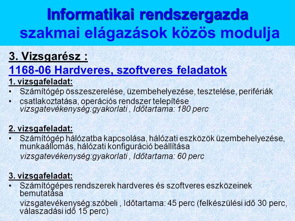 Informatikai rendszergazda szakmai elágazások közös modulja