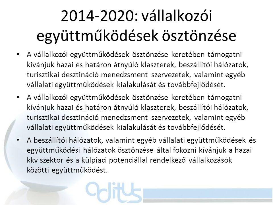 2014-2020: vállalkozói együttműködések ösztönzése