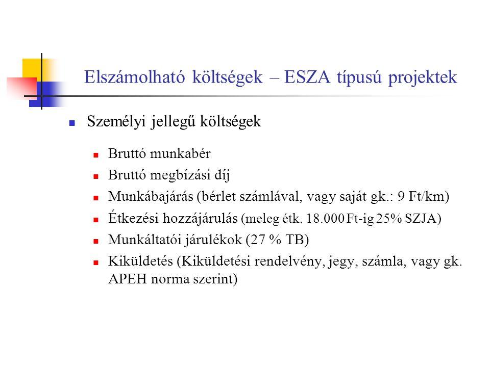 Elszámolható költségek – ESZA típusú projektek
