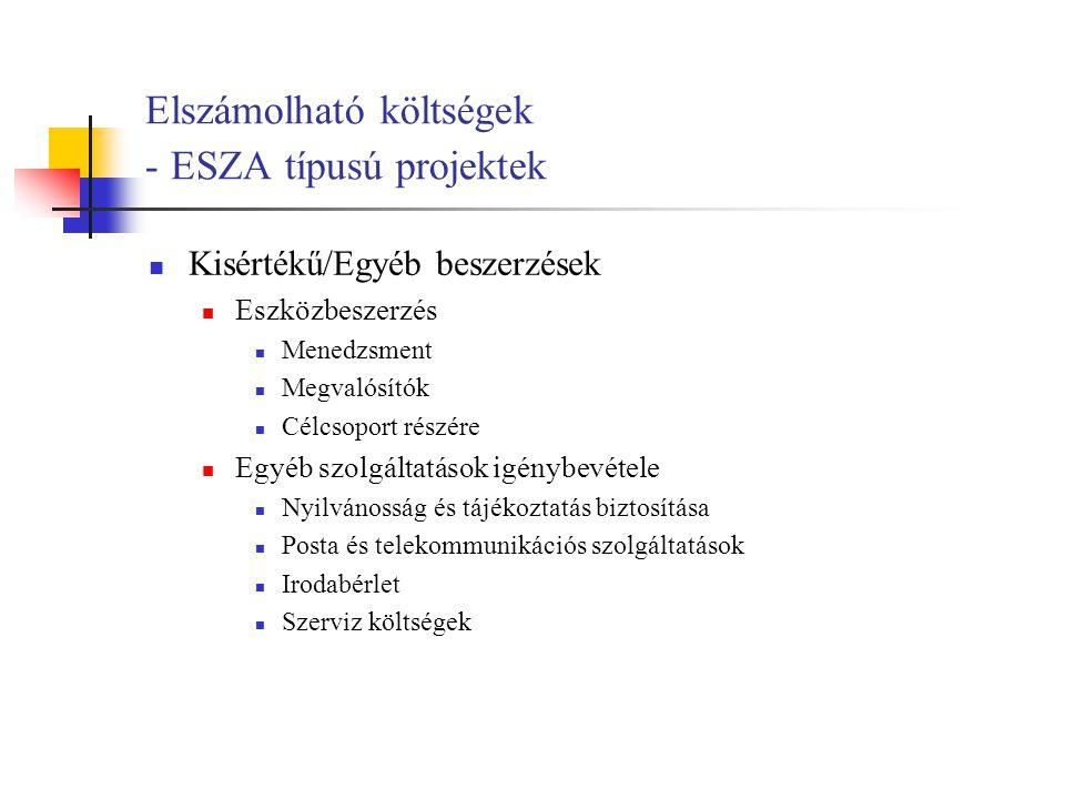 Elszámolható költségek - ESZA típusú projektek