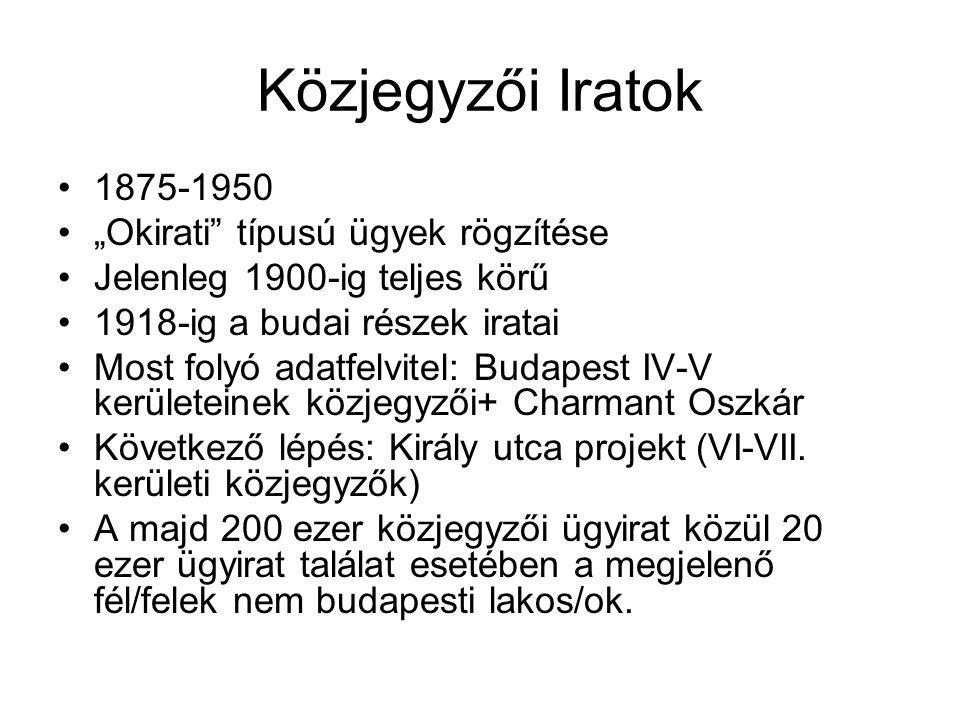 """Közjegyzői Iratok 1875-1950 """"Okirati típusú ügyek rögzítése"""