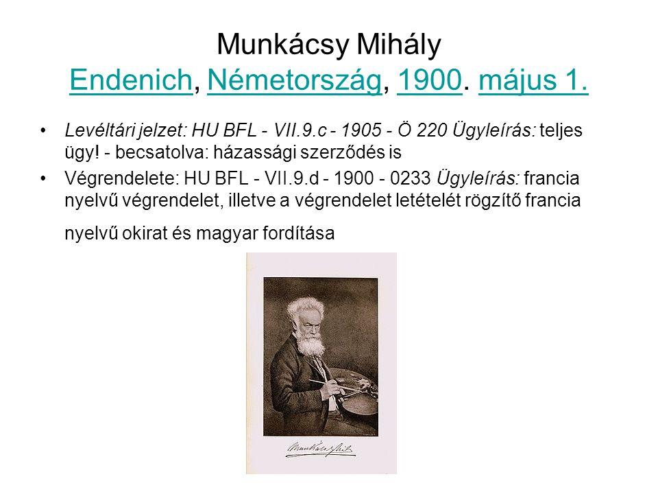 Munkácsy Mihály Endenich, Németország, 1900. május 1.