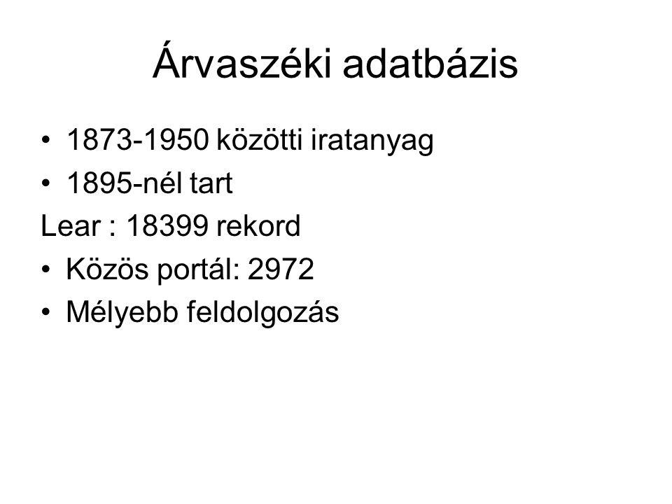 Árvaszéki adatbázis 1873-1950 közötti iratanyag 1895-nél tart