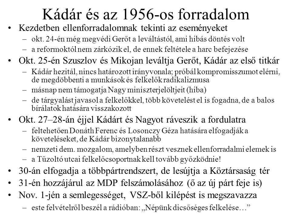 Kádár és az 1956-os forradalom