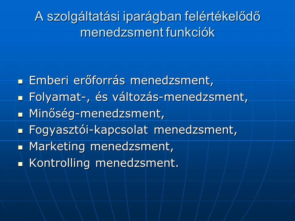 A szolgáltatási iparágban felértékelődő menedzsment funkciók