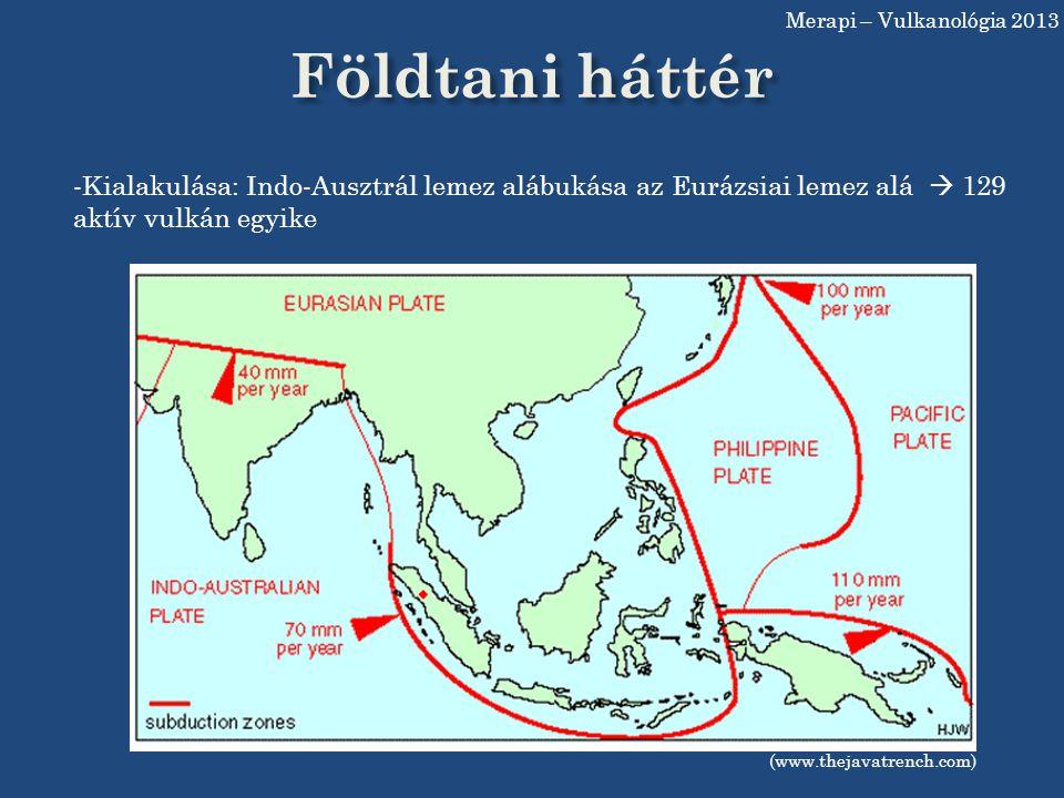 Merapi – Vulkanológia 2013 Földtani háttér. Kialakulása: Indo-Ausztrál lemez alábukása az Eurázsiai lemez alá  129 aktív vulkán egyike.