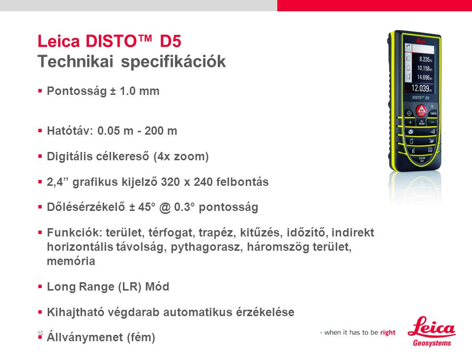 Leica DISTO™ D5 Technikai specifikációk