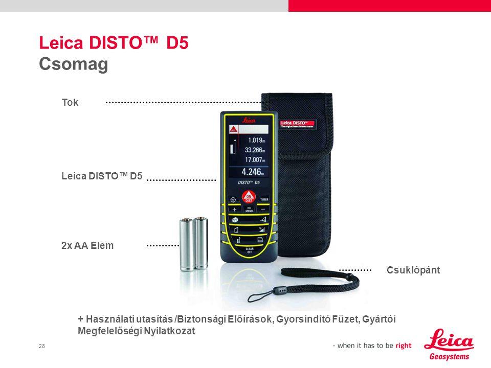 Leica DISTO™ D5 Csomag Tok Leica DISTO™ D5 2x AA Elem Csuklópánt