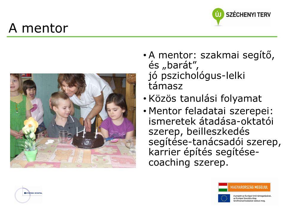 """A mentor A mentor: szakmai segítő, és """"barát , jó pszichológus-lelki támasz. Közös tanulási folyamat."""