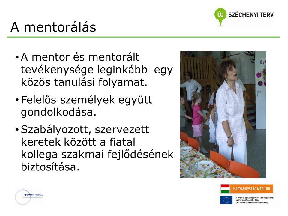 A mentorálás A mentor és mentorált tevékenysége leginkább egy közös tanulási folyamat. Felelős személyek együtt gondolkodása.