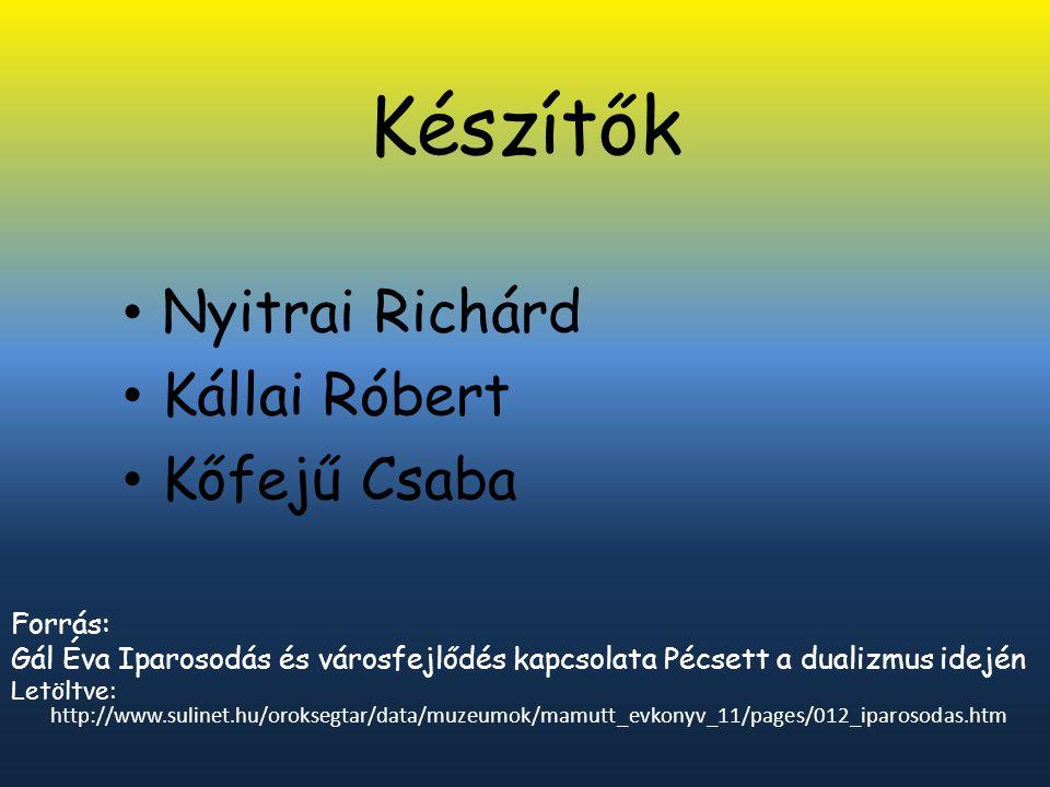 Készítők Nyitrai Richárd Kállai Róbert Kőfejű Csaba Forrás: