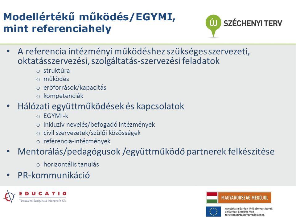 Modellértékű működés/EGYMI, mint referenciahely