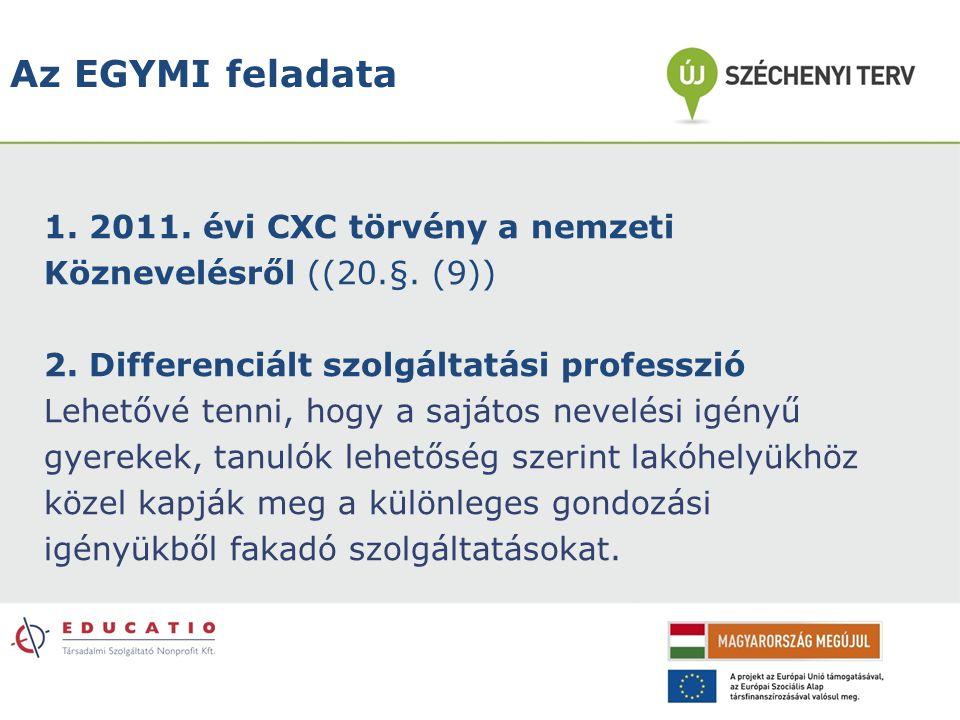 Az EGYMI feladata 1. 2011. évi CXC törvény a nemzeti