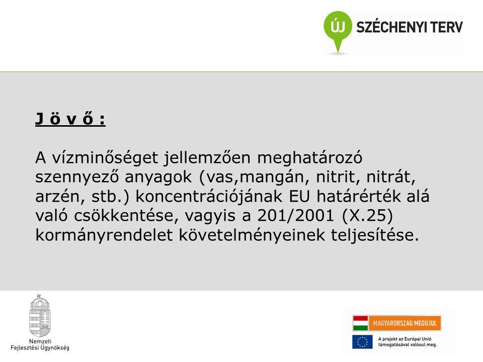 J ö v ő : A vízminőséget jellemzően meghatározó szennyező anyagok (vas,mangán, nitrit, nitrát, arzén, stb.) koncentrációjának EU határérték alá való csökkentése, vagyis a 201/2001 (X.25) kormányrendelet követelményeinek teljesítése.