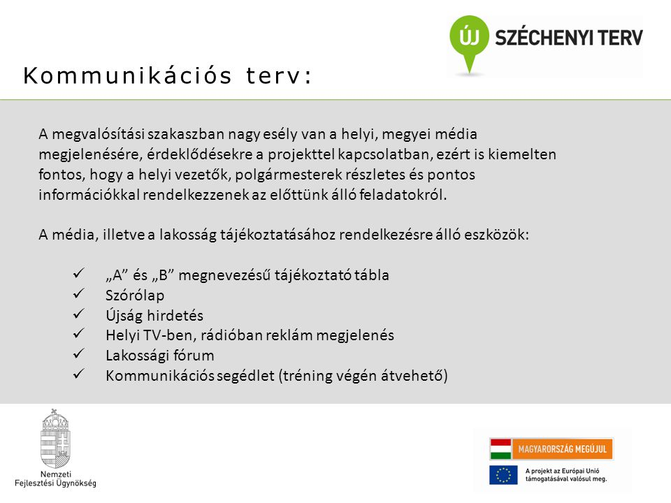 Kommunikációs terv: