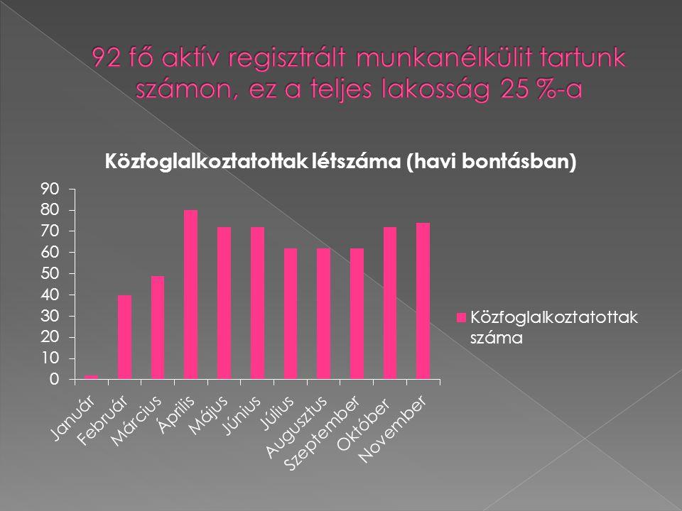 92 fő aktív regisztrált munkanélkülit tartunk számon, ez a teljes lakosság 25 %-a