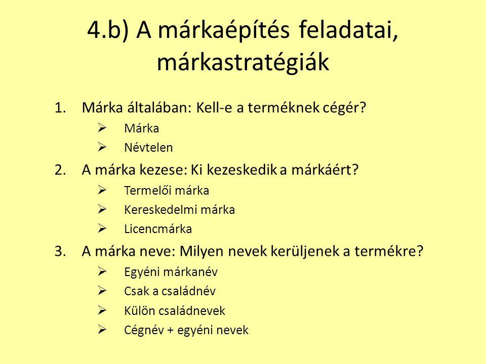4.b) A márkaépítés feladatai, márkastratégiák