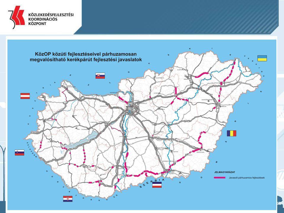 A következő térképen a közúthálózat azon szakaszai kerültek feltüntetésre, ahol a GKM felkérésére, egy 2007-ben a Közlekedésfejlesztési Koordinációs Központ által végzett tanulmány szerint indokolt lenne kerékpárút építése.