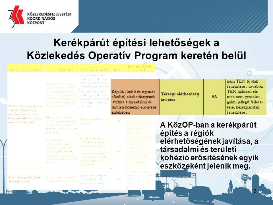 Kerékpárút építési lehetőségek a Közlekedés Operatív Program keretén belül
