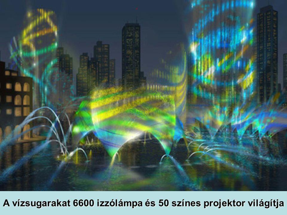 A vízsugarakat 6600 izzólámpa és 50 színes projektor világítja