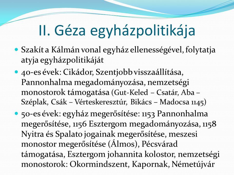 II. Géza egyházpolitikája