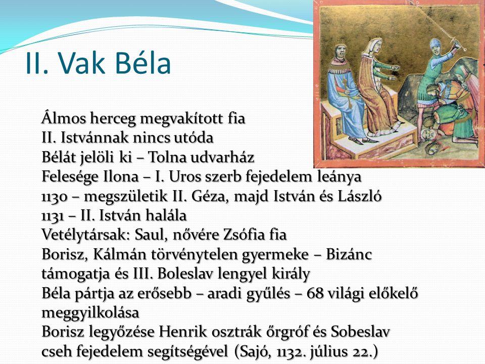 II. Vak Béla Álmos herceg megvakított fia II. Istvánnak nincs utóda