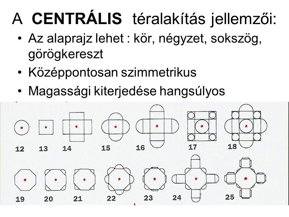 A CENTRÁLIS téralakítás jellemzői: