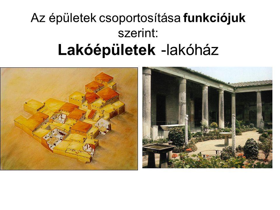Az épületek csoportosítása funkciójuk szerint: Lakóépületek -lakóház