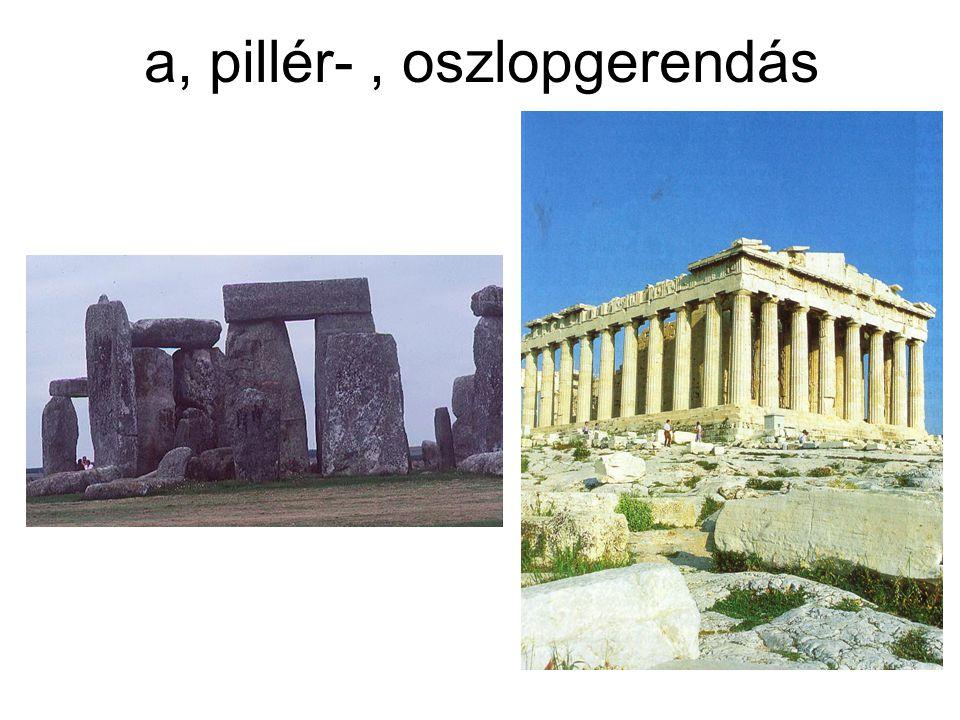 a, pillér- , oszlopgerendás