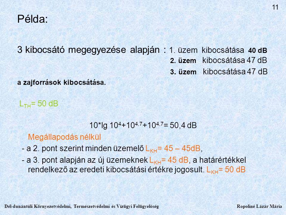 11 Példa: 3 kibocsátó megegyezése alapján : 1. üzem kibocsátása 40 dB 2. üzem kibocsátása 47 dB.