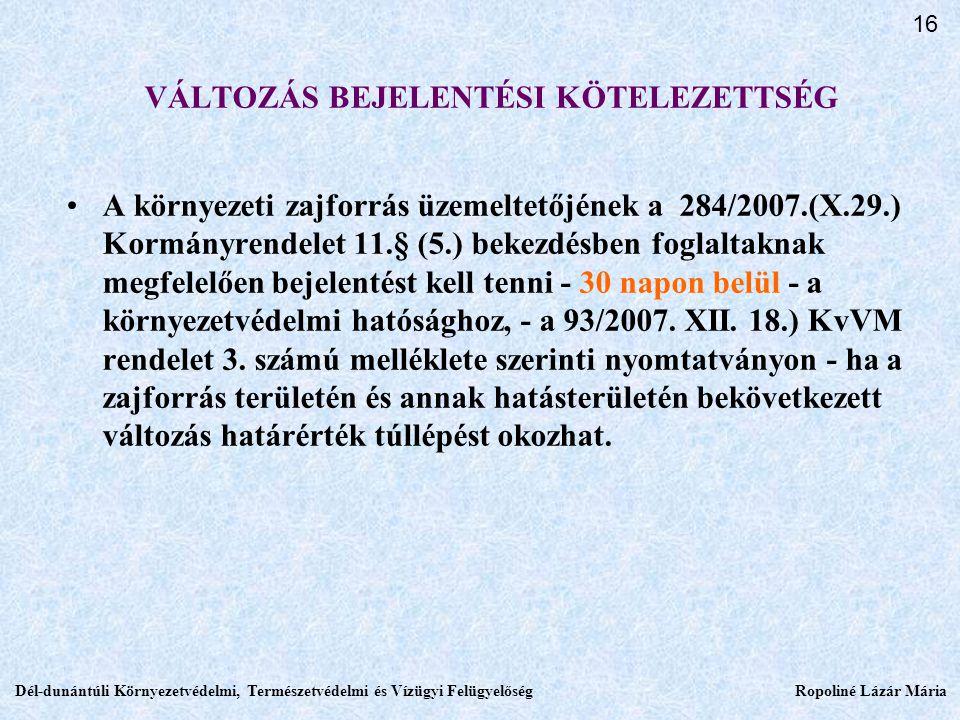 VÁLTOZÁS BEJELENTÉSI KÖTELEZETTSÉG