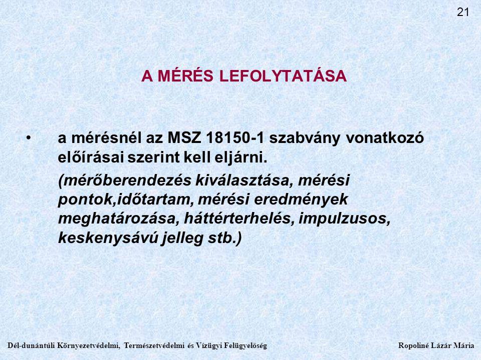 21 A MÉRÉS LEFOLYTATÁSA. a mérésnél az MSZ 18150-1 szabvány vonatkozó előírásai szerint kell eljárni.