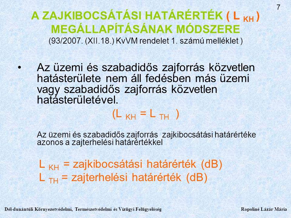 L TH = zajterhelési határérték (dB)