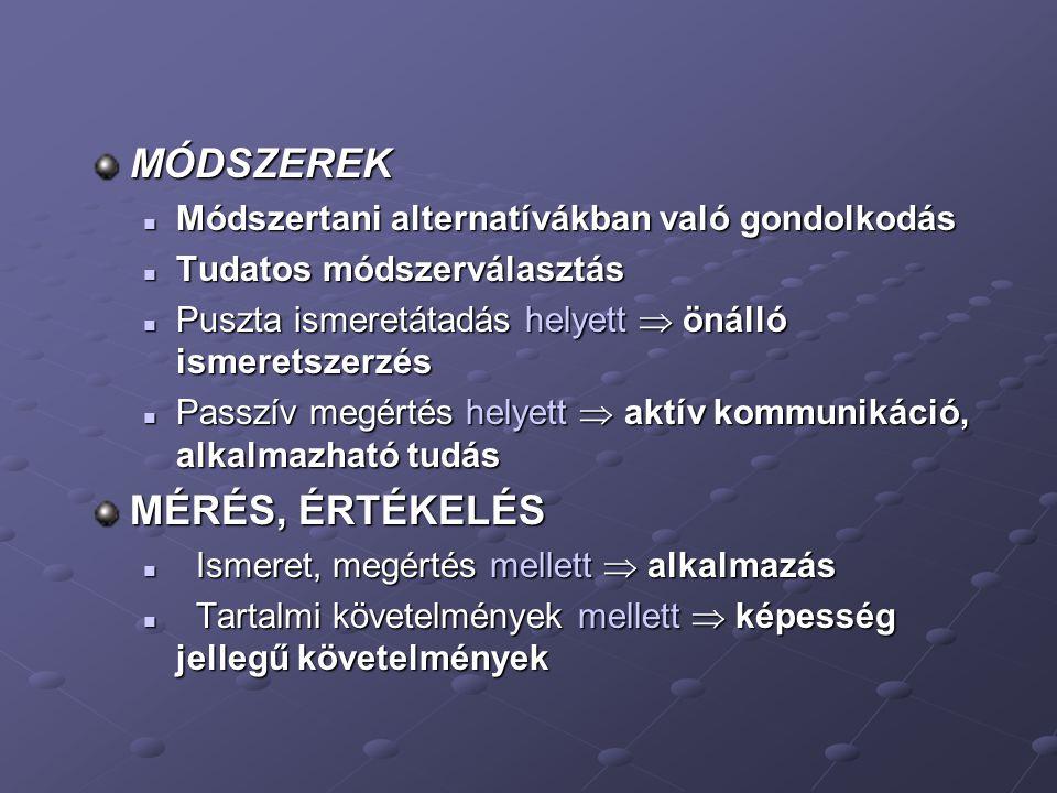 MÓDSZEREK MÉRÉS, ÉRTÉKELÉS