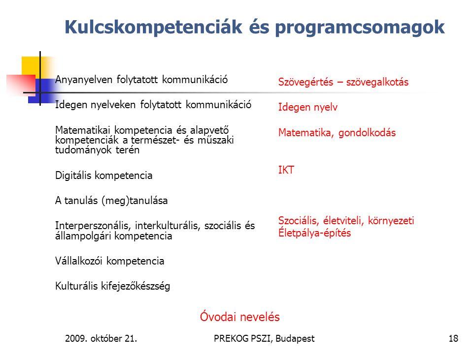 Kulcskompetenciák és programcsomagok